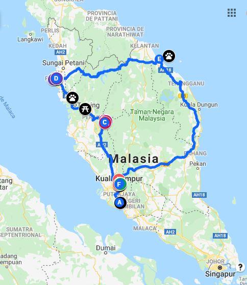 Ruta general del viaje a Malasia - Pasos de viajera